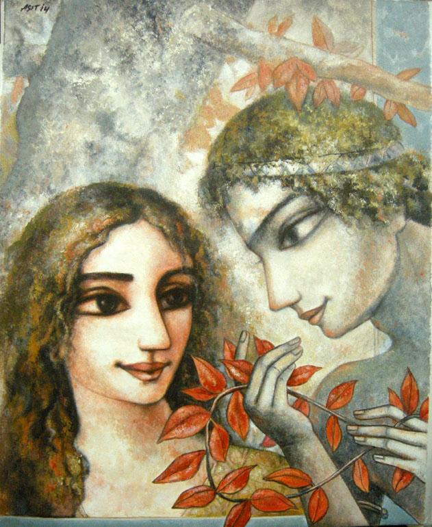 Asit-Sarkar-The-first-meet-Acrylic-on-Canvas-Painting-EK-15-0017-AC-0003-24x30.JPG