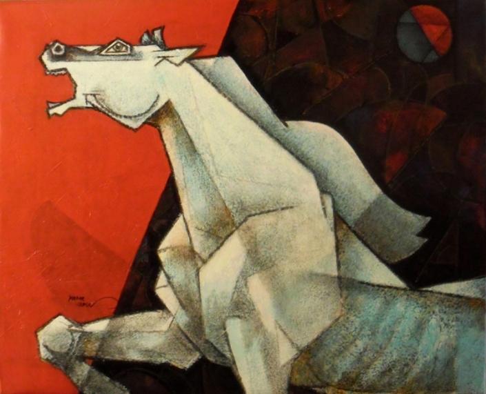 Dinkar-Jadhav-Rebellious-Steed-Acrylic-on-Canvas-Painting-EK-0005-AC-0007-30x24-62000