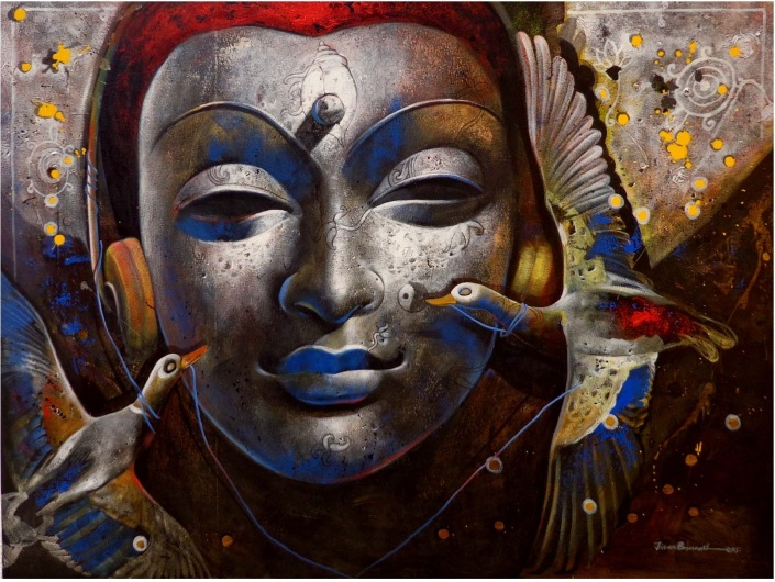Jiban-Biswas-The-Path-to-Spirituality-Acrylic-on-Canvas-Painting-EK-0023-AC-0004-36x48