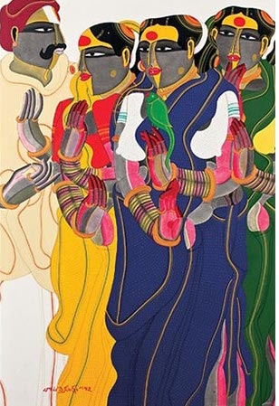 Thota Vaikuntam, Untitled, 2007, acrylic on canvas, 71.5 x 47.5 in