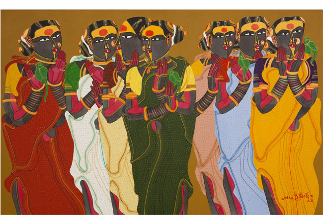 Thota Vaikuntam, Untitled, 2009, acrylic on canvas, 42 x 66""