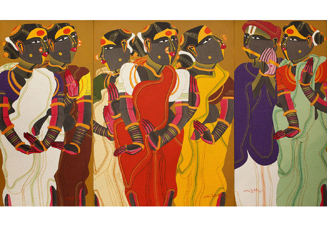 Thota Vaikuntam, Untitled, 2013, triptych, acrylic on canvas, 48 x 84""