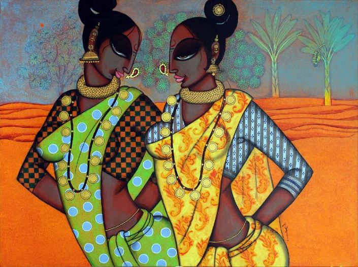 "Varsha-Kharatmal-Three-women-30""-x-40""-Surrealism-Painting-EK-16-0060-AC-0008.jpeg"
