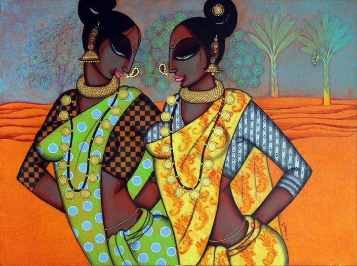 """Varsha-Kharatmal-Three-women-30""""-x-40""""-Surrealism-Painting-EK-16-0060-AC-0008.jpeg"""