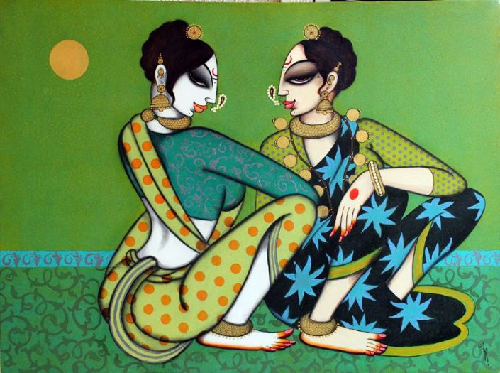 "Varsha-Kharatmal-Two-Friends-30""-x-40""-Surrealism-Painting-EK-16-0060-AC-0001.jpeg"