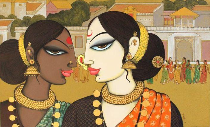 """Varsha-Kharatmal-What-She-Heard-24""""-x-40""""-Surrealism-Painting-EK-16-0060-AC-0006.jpeg"""