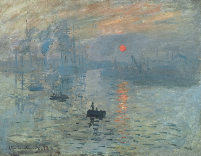 Claude Monet, Sunrise, 1872-4, oil on canvas, 48 x 63 cm, Musee Marmottan Monet. Wikimedia Commons.