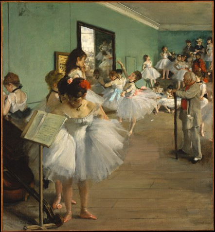 Edgar Degas, The Dance Class, 1873-6, oil on canvas, 85 x75 cm, Musee d'Orsay, Paris, France. Wikimedia commons.