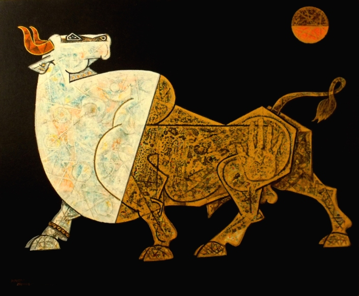 "Dinkar-Jadhav-Bull-under-Moonlight-36""-x-30""--Abstract-Painting-EK-15-0005-AC-0027.jpg"