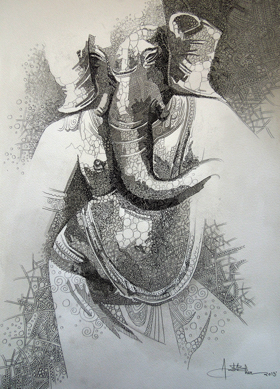 Amit-Bhar-Ganesha-Acrylic-Pen-Pencil-on-Paper-Painting-EK-15-0034-AC-0008-15x22-70,000 .jpg