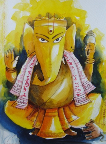 Anirban-Seth-Ganesha-II-Acrylic-on-Canvas-Painting-EK-15-0041-AC-0016-9x12