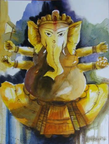 Anirban-Seth-Ganesha-Water-Colour-on-Paper-Painting-EK-15-0041-AC-0002-12x9