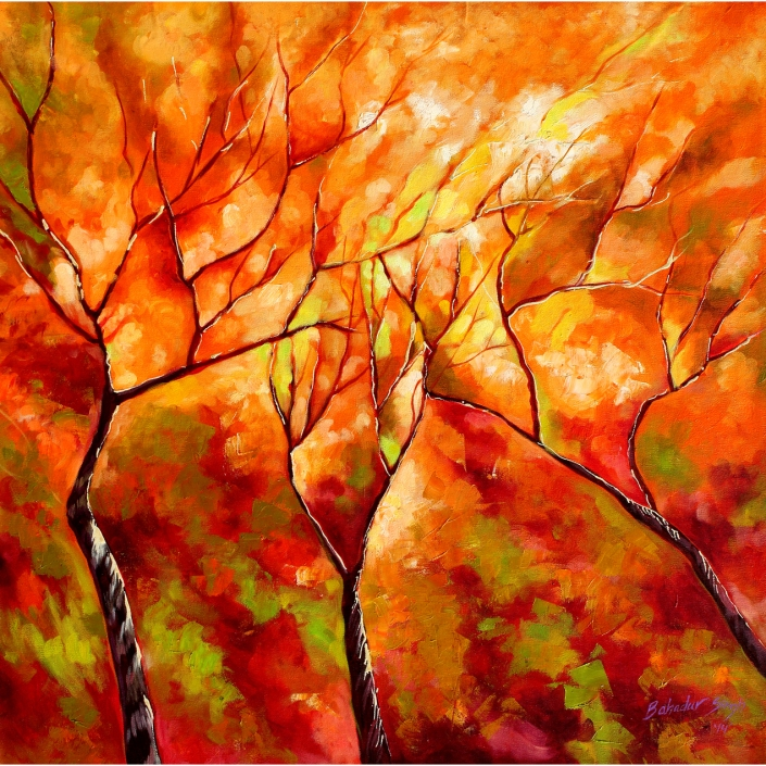 bahadur-singh-autumn-fire-oil-on-canvas-painitng-ek-15-0016-ol-0016-28x28-jpg