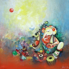 G 07, Title_Shree Ganesha with Bhajan Group_02 Acrylic on Canvas, (Selling Price 40,000), 30 x 30 in