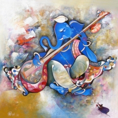 G 08, Shree Vinayaka, Acrylic on Canvas, (Selling Price 75,000), 48 x 48 in.
