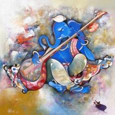 G 08, Shree Vinayaka, Acrylic on Canvas, (Selling Price 75,000), 48 x 48 in.