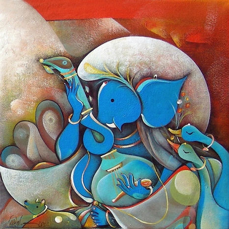 G 10, Title_Musician Ganesha, Acrylic on Canvas, (Selling Price Rs. 18,000), 18 x 18 in