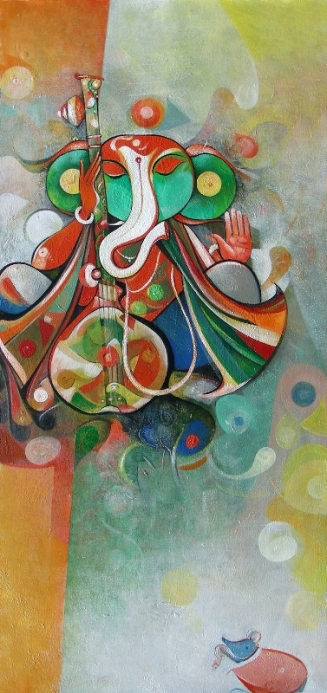 G 16, Title_Musician Ganesha_31, Acrylic on Canvas, Year_2015, 34 x 16 in