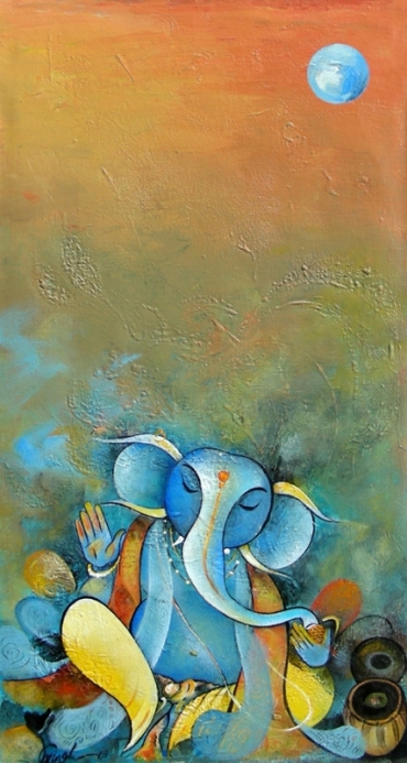 G 18, Ganesha VII, Acrylic on Canvas, 25 x 13 in