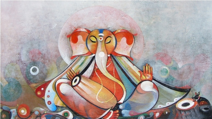 G 22, Shree Ganesha, Acrylic on Canvas, (Selling Price Rs. 21,000), 16 x 30 in.jpg
