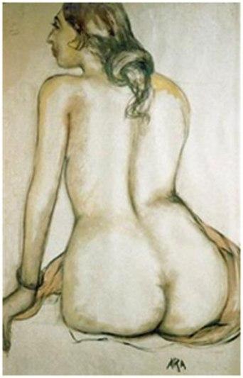 "K H Ara, Untitled, watercolour on paper, 35 x 22.5"""