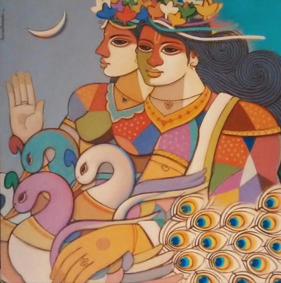 avinash-deshmukh-king-queen-19-acrylic-on-canvas-painting-ek-15-0042-ac-0019-36x36