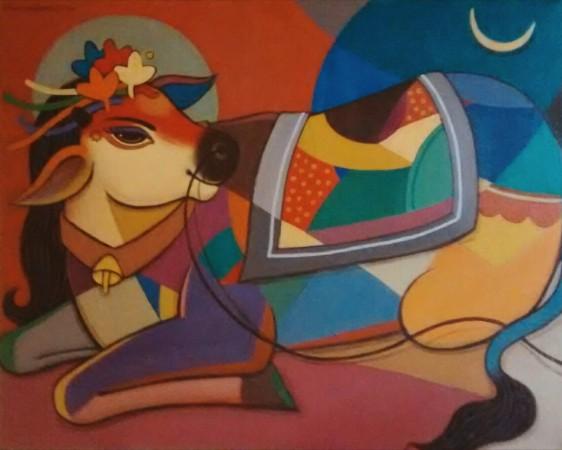 avinash-deshmukh-nandi-acrylic-on-canvas-painting-ek-15-0042-ac-0014-24x30