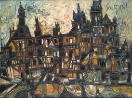 F N Souza, Amsterdam Landscape, 1961