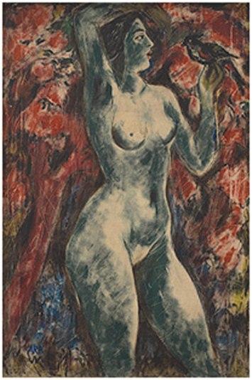 "K H Ara, Nude with Bird, 1960, oil on canvas, 35.5 x 23.5"""
