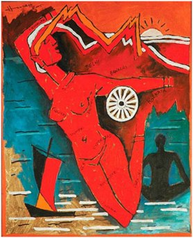 M. F. Husain, Untitled (Bharat Mata), oil on board