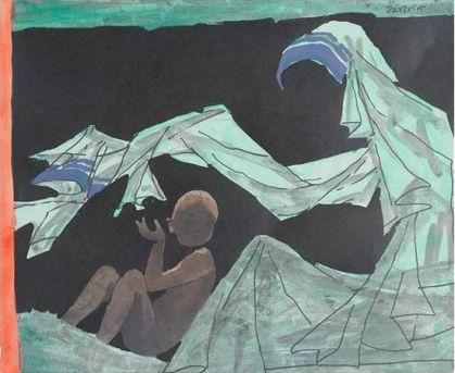M.F. Husain, Mother And Child: A Tribute To Mother Teresa, 1980, lithograph, 52.6 x 39.9 cm