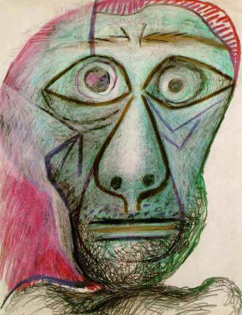 Self-Portrait Facing Death, 1972, crayon on paper